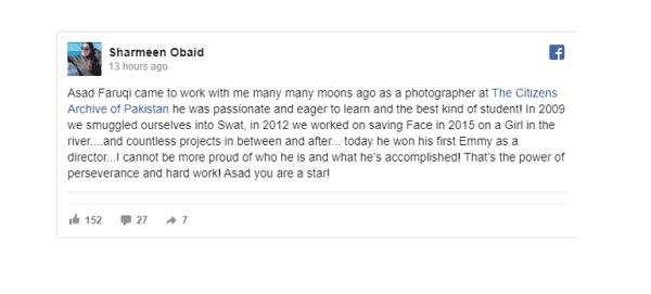 Sharmeen tweet for Asad Faruqi