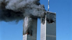 Twin towers falling after 9/11 attack
