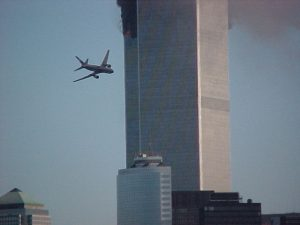 Plane hitting twin towers