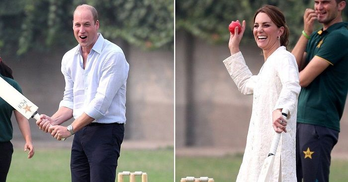 Royal couple playing cricket