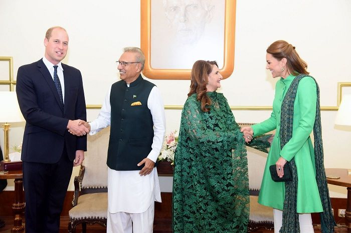 The Duke and Duchess of Cambridge with President Dr. Arif Alvi