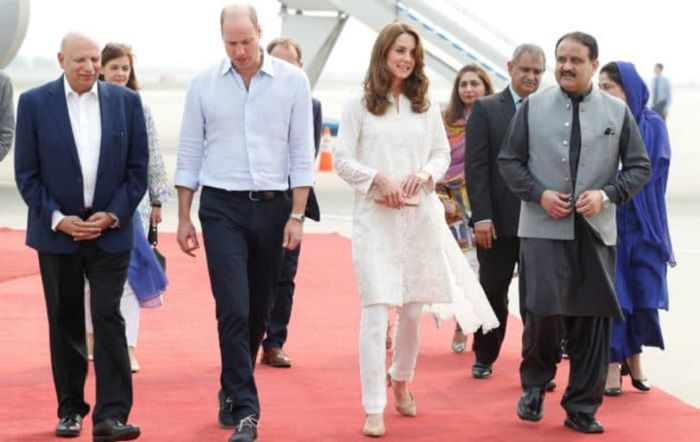The royal couple with chief minister Usman Buzdar