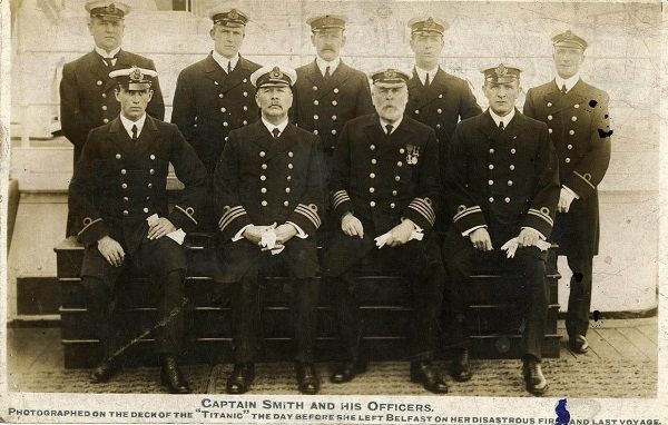 The crew of Titanic with Captain Smith