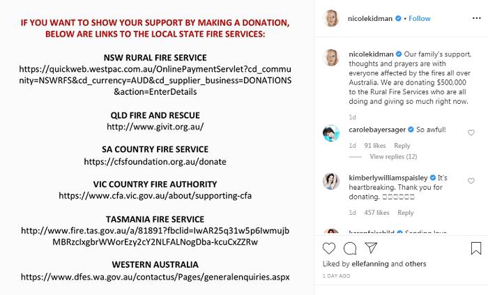 Nicole Kidman helps to raise money for Australia bushfire