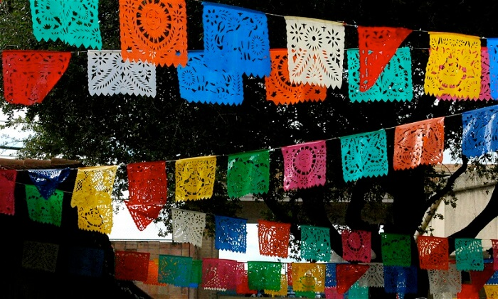 Papel Picado or chiseled paper are made of tissue paper