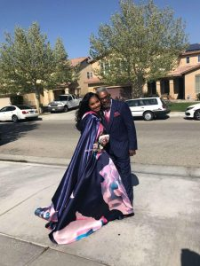 A teen age go with her grandpa to the prom
