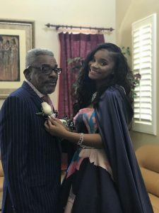 Kaylah Bell with grandfather Alvin Hackett