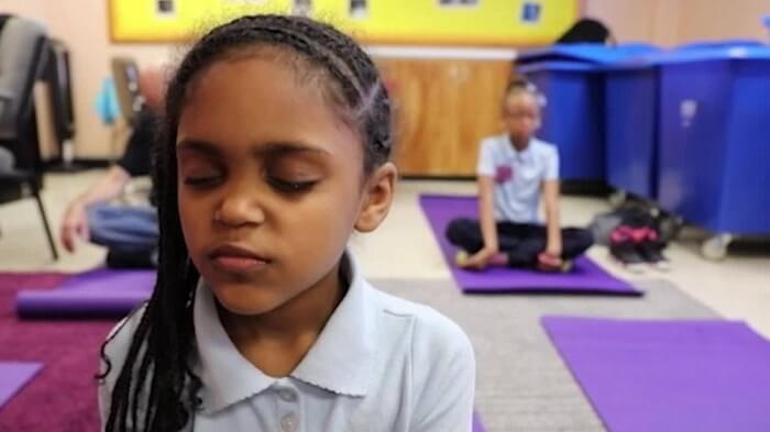 A student doing meditation