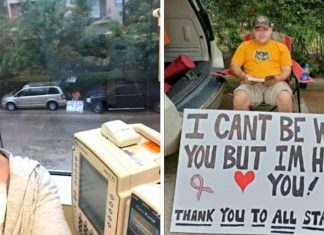 Husband Supports Wife's Chemotherapy from Outside the Hospital