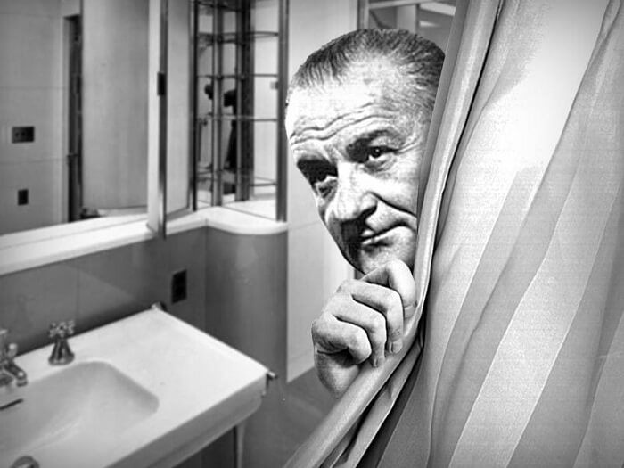 President Lyndon B. Johnson conducted White House meetings on the toilet