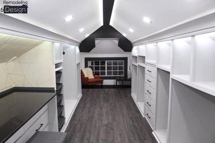 Husband transforms creepy attic into beautiful closet
